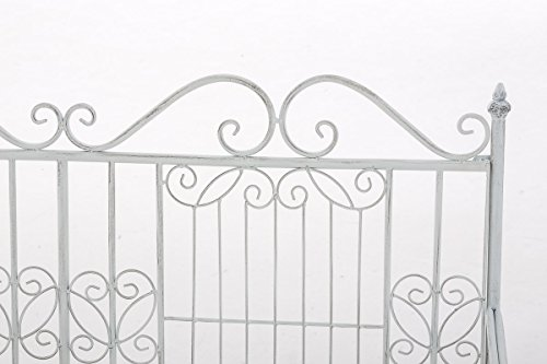 CLP Eisen-Gartenbank ADELE im Landhausstil, aus lackiertem Metall, 107 x 54 cm Antik Weiß - 5