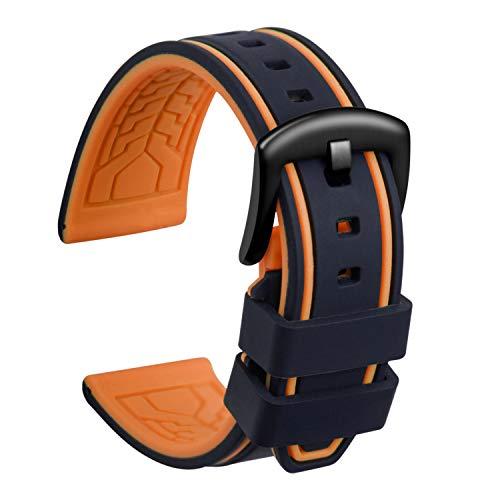 ULLCHRO Unisex Kautschuk Armband mit Gebürstete Edelstahl Silber Schnalle 22mm Schwarz Orange