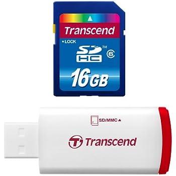Transcend Hi-Speed SDHC 16GB Class 6 Speicherkarte mit USB Kartenleser