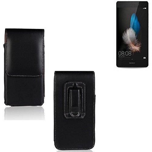 Marsupio per Huawei P8 Lite, di alta qualità custodia in pelle sintetica di colore nero | pianura semplice eleganza funzionale. Cassa del telefono mobile della copertura della cassa sacchetto trasversale tasca Clip di trasporto verticale Cover Bag