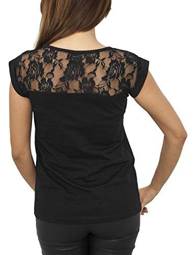 Urban Classics Ladies Top Laces Tee, T-Shirt Femme Noir (7)