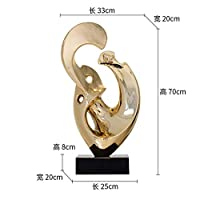CUIAIDING statue Gold Silver Large Size Modern Sculpture Abstract Marble Base Sculpture Home Decor Resin Sculpture Statue for Decoration,Gold