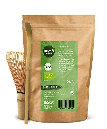 Bio Matcha-Tee Set XXL | 90g Bio-Matcha-Tee + Matcha Besen + Matcha Löffel – 100% Matcha aus nachhaltigem Anbau