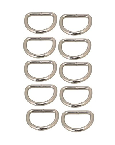 Ximkee D-Rings for Bag or Purse Handles - Pack of 10 - 25mm Nickel (25mm)