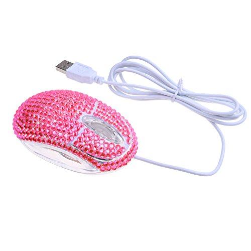Eco-Fused Optische USB-Computermaus mit Strasssteinen, in Einzelhandelsverpackung, Pink (Apple Maus Wired Computer)