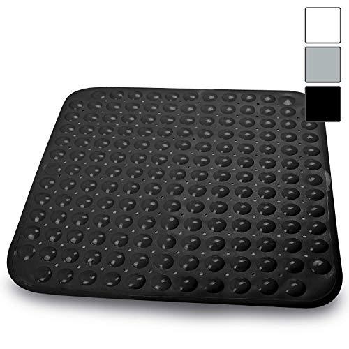 Sarenius Duschmatte 53 cm x 54 cm - Antirutschmatte für die Duschwanne mit extra starkem Halt - BPA-frei - Hochwertige Duscheinlage aus geruchsfreiem PVC. (schwarz)