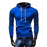 DOTBUY Basic Kapuzenpullover Herren, Herbst Winter Pullover Sweatshirt Mode Lässig Sweatjacke Rundhals Langarm Hoodie (M, Blau)