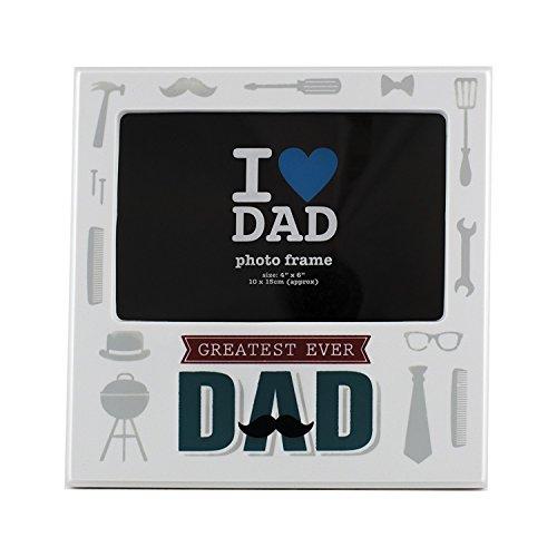 Trixes regalo papà cornice portafoto 'greatest ever dad » di colore bianco 15cm x 10cm circa regalo per la festa del papà o l' anniversario del tuo padre