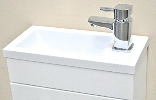 Minimo White Square Basin Bathroom Furniture Cloakroom Compact Vanity Unit 370 X 180 + York Mini Basin Mixer Tap Un Slotted Waste