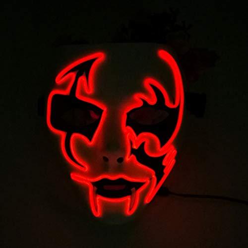 Halloween Maske LED Leuchten Lustige Masken Große Festival Cosplay Kostüm Party Masken Glow In Dark (Rot) (Farbe : Red)