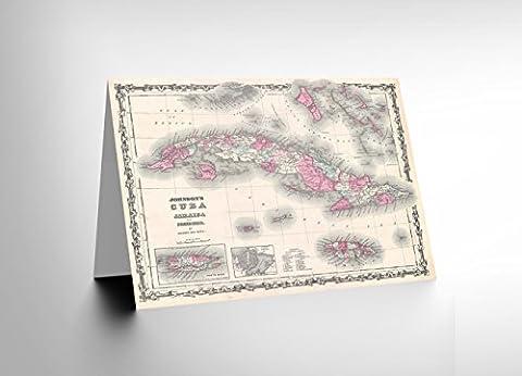 1862 JOHNSON MAP CUBA AND PORTO RICO BIRTHDAY BLANK GREETINGS CARD CL1004