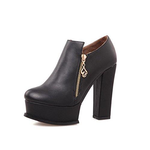 VogueZone009 Damen Blend-Materialien Reißverschluss Knöchel Hohe Hoher Absatz Stiefel Schwarz