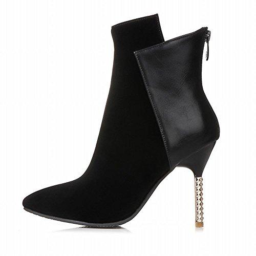 Mee Shoes Damen Stiletto Nubukleder spitz Reißverschluss Ankle Boots Schwarz