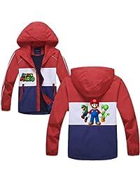 Aivosen Super Mario Chaquetas Grueso para Niño y Niña Chaquetas con Capucha Otoño Invierno Chaqueta de