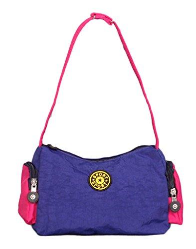 Fortunings JDS® Singolo sacchetto di spalla borsa trendy unico di tela nera borsa a mano tote blu scuro