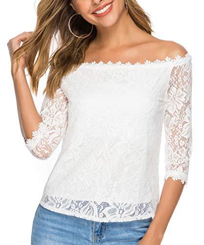 Süße 3/4 Ärmel T-shirt (Pacrate Schulterfrei Oberteile Damen Weich Spitze Top Damen Sommer Blusen Elegant Party T Shirt)