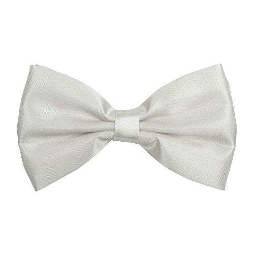 Sock Snob - Noeud Papillon Satin Pour Hommes Uni Blanc Pré Noué Réglable (Plain White)