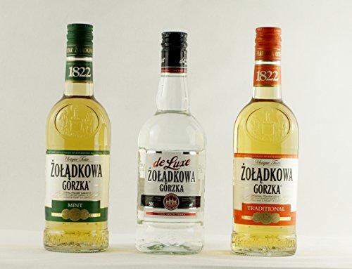 Geschenkidee Żolądkowa Gorzka triple: Minze, Klarer, Klassik | Polnischer Wodka | 34%, 40%, 36%, 0,5 Liter