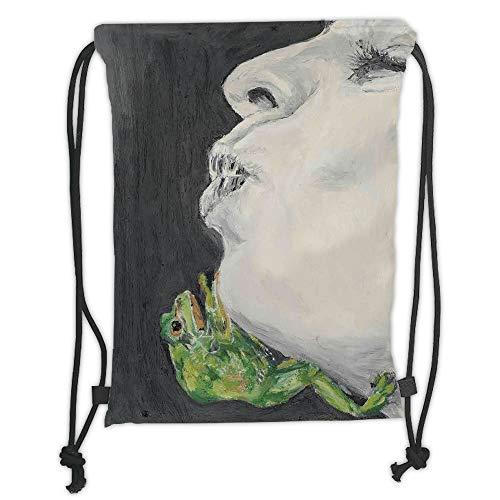 Fashion Printed Drawstring Backpacks Bags,Country Decor,Mod Drawing of a Lady Kissing the Frog Prince Soul Mates Love Boho Animal Art,Grey Green Black Soft Satin,5 Liter Capacity,Adjustable String Key-mate Light