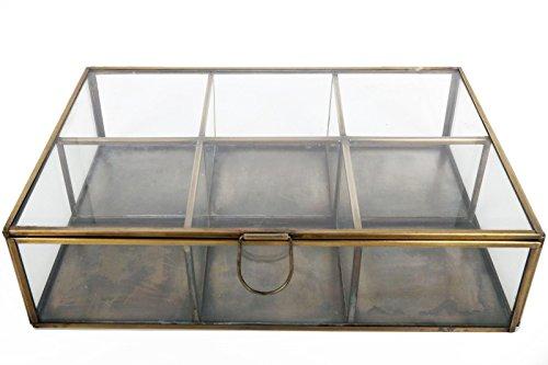 Envejecido Vintage latón Metal espejo de cristal caja de joyería rec