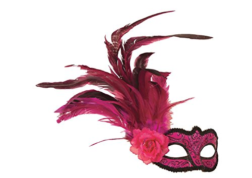 Karneval Klamotten Kostüm Augenmaske Venezianisch pink mit Federn Zubehör Venedig Karneval