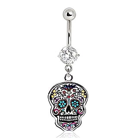 Superbe Multicolore-Floral Sugar Skull avec décorations en cristal Bijou pour piercing au nombril Navel Ring.