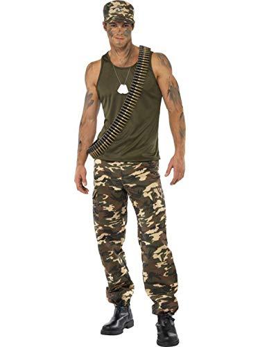 Halloweenia - Herren Männer Camouflage Soldier Soldat Kämpfer Söldner Kostüm Deluxe mit Leibchen und Hose, perfekt für Karneval, Fasching und Fastnacht, L, Grün