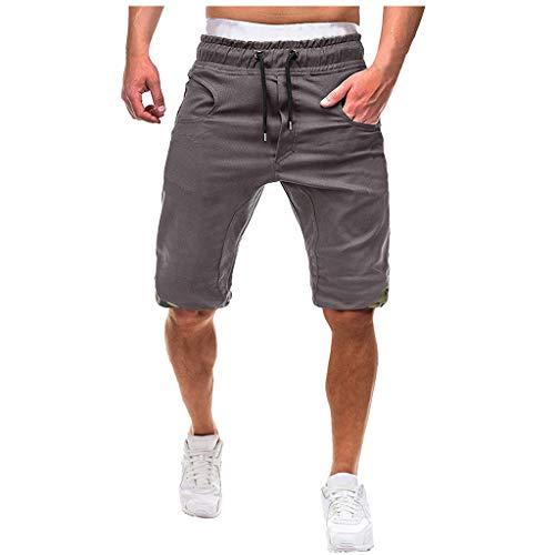 Cargo Shorts Herren Chino Kurze Hose Sommer Bermuda Sport Jogging Training Stretch Shorts Fitness Vintage Regular Qmber,Baggy mit Spitzenshorts/Grau,XL - Schwarz Tactical Pullover