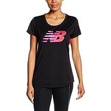 New Balance acelerar Graphic de manga corta de la mujer running Camiseta, mujer, color Azalea/Multi-Colour, tamaño mediano