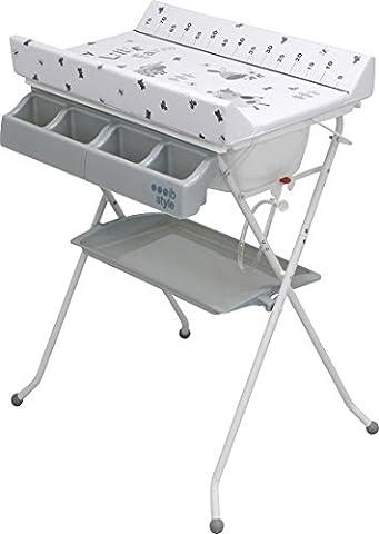 Combi bain-change pliable avec baignoire Table à langer avec compartiments Commode à langer Matelas à langer | Décoration