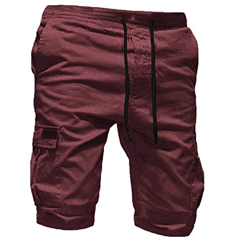 Cargo Shorts Herren Pure Farbe Bandage Beiläufig Lose Tunnelzug Jogginghose Shorts Hose (XL, Kaffee)