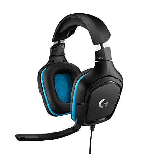 Logitech G432 Gaming-Headset, 7.1 Surround Sound, DTS Headphone:X 2.0, 50 mm Treiber, Bügelmikrofon mit Flip-Stummschaltung, Ohrpolster mit Kunstleder, PC/Xbox Ons/PS4/Nintendo Switch - schwarz/blau