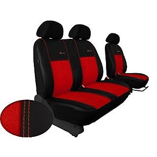 Autositzbezüge BUS 1+2 Alkantra EXCLUSIVE passend für CITROEN JUMPER in diesem Angebot ROT (In 5 Farben bei anderen Angeboten erhältlich) . Sitzbezug Fahrersitz + 2er Beifahrersitzbank + 3 Kopfstützen