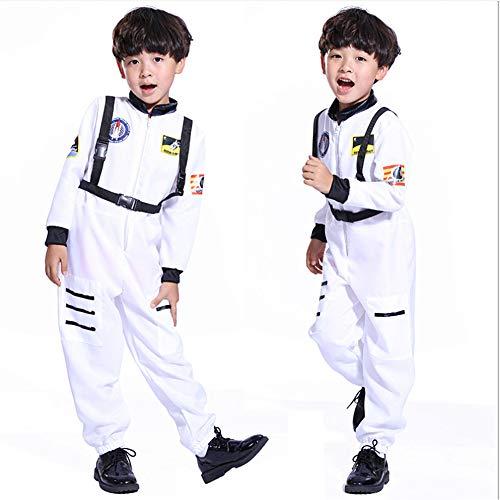 Proumhang Kostüm Kind Junge Mädchen Cosplay Kostüm Spatial Astronaut Kostüm Driver Tenus für Karneval Halloween Party Kleidungsstück Cosmonaut 4-15 Jahrenn-Weiß, S (für 95-105cm)