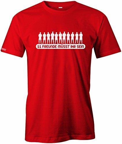 Jayess 11 Freunde müsst Ihr Sein - Sport Hobby - Herren Fun T-Shirt Rot Gr. XL -
