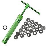 Ton-Extruder, Edelstahl-Zuckerpaste, Extruder, Schneider, Dekorations-Werkzeug, manuelle Maschine, Dekorationswerkzeug mit 20 Spitzen Free Size grün
