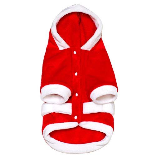 BESTOYARD Hundebekleidung Weihnachten Flanell Kleidung Winter Dicke Warme Kapuzenmantel Weihnachten Haustier Kleidung Kostüm, Größe L