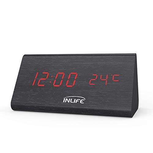 INLIFE Despertador Digital Reloj Digital de Madera con 3 Alarmas con Control de Sonido...