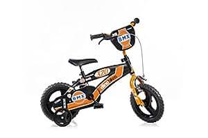 DINO BIKES BMX 125XC 12 pouce KIDSBIKE boy vélo, bicyclette, enfant-velo, bécane, vélocipède, rouler en vélo, faire du vélo, noir,stabilisateurs 12pouce 2-5 ans 85-110cm