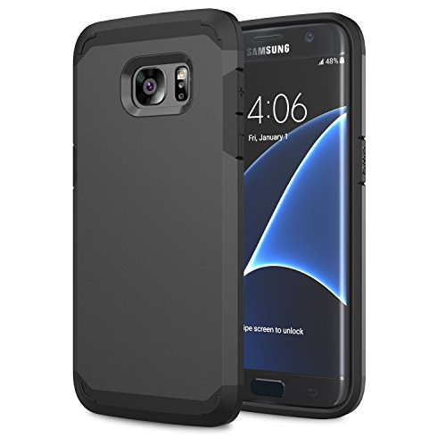 Moko galaxy s7 edge case - [serie armatura ibrido] [protezione dual layer] custodia angoli tecnologia a cuscino d'aria + paraurti per samsung galaxy s7 edge 5.5 inch smartphone 2016 release, nero