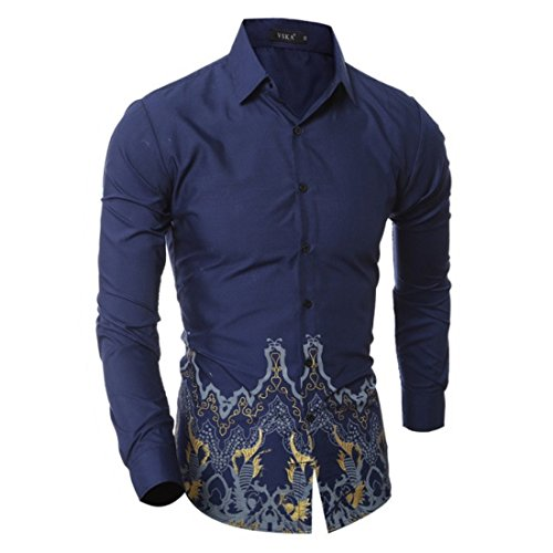 Men's Button Up Formal Printed Casual Dress Shirts blue