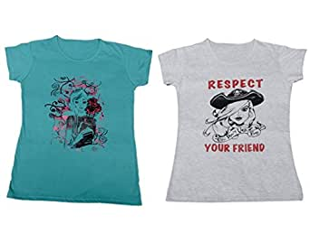 Indistar Women's Cotton Printed T-Shirt Combo (Pack of 2 T-Shirt)