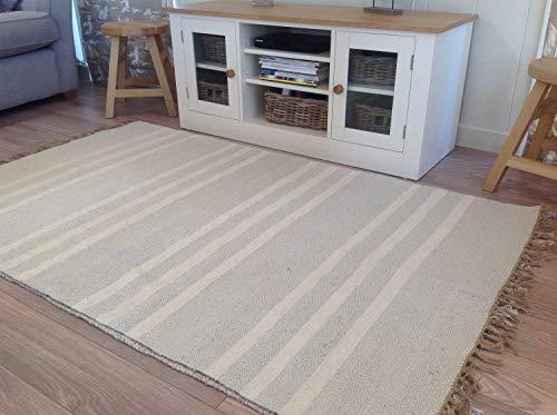 Coton Naturel et Jute Gris Triple Blanc à Rayures Tapis 90 cm x 150 cm