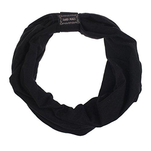 Transer Haarband, Kopfband, Stirnband, elastisch, breit, Leopardenprint, Kopfbedeckung Turban, Bandana, Schal, modisch, Party, schwarz (Bandana Stoff)