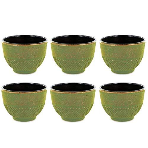 Youdoit 6 Tasses en Fonte de Chine Vert & Bronze 15 cl