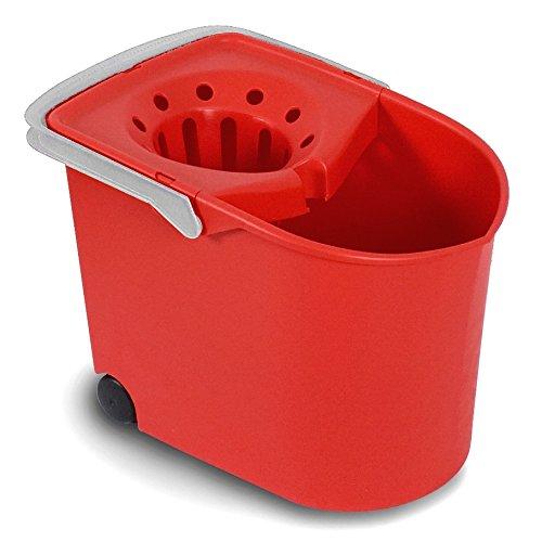 TATAY 1103209 - Cubo de Fregar graduado con Ruedas y Escurridor, Capacidad para 12 Litros, Color Rojo, 25,5 x 38,2 x 28