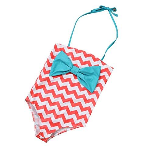 Igemy Neue Baby Girls Bowknot Bad Anzug Kinder Einteiler Hot Spring Badeanzug Bikini (L, Rosa)