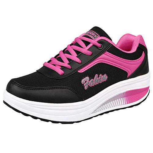 Riou-Stiefel Damen Laufschuhe Mesh Atmungsaktiv Wasserdicht Turnschuhe Outdoor Running Fitness Sportschuhe Schnürer Lässige Schuhe - Für Rosa Arbeit Frauen Stiefel