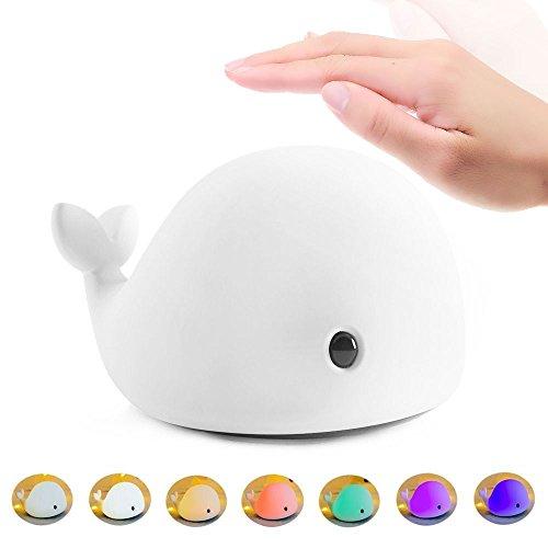 Anpress Luz de Noche LED Lámpara Infantil Nocturna para Niños 7 Color Delfín Lindo Cartoon Animal Mesa USB Recargable Silicona Suave Multicolor Toque Juguete para Bebés Regalo de Navidad