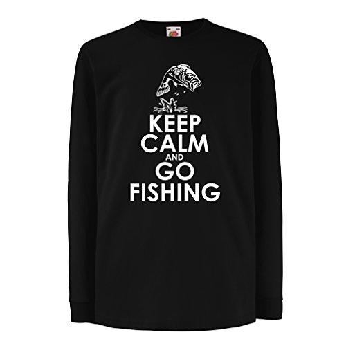 Camisetas de Manga Larga para Niño Ropa de Pesca, Regalo Gracioso Pescador, Citas de Humor (7-8 Years Negro